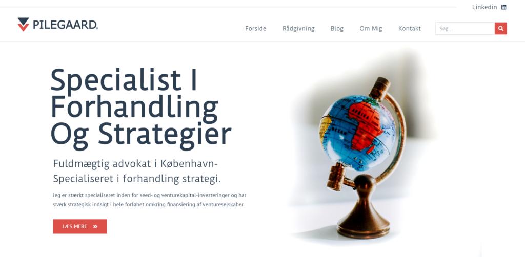 Hjemmesidedesign, eksempel. Webdesigner København udøver Hjemmesidedesign advokat direkte til pointen